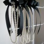Pearl And Ribbon Necklace Bridesmai..