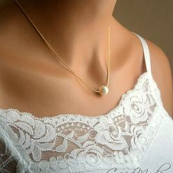 Floating Pearl Necklace In Gold Chain With 10mm Cream Swarovski Crystal Pearl 18 Inches